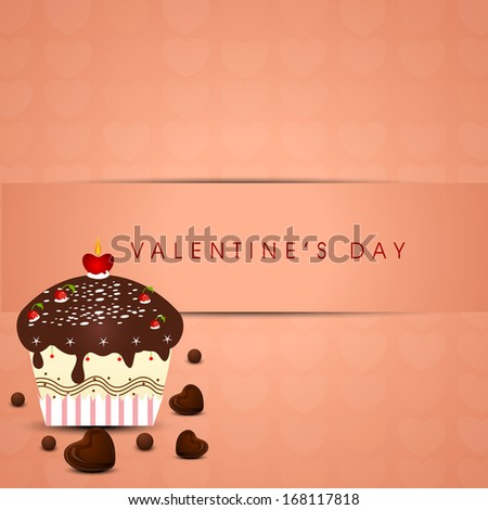 Romantic valentines day background with chocolate pan cake on vintage background.  - stock vector