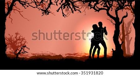 Romantic vector background with magic forest and dancing couple - stock vector