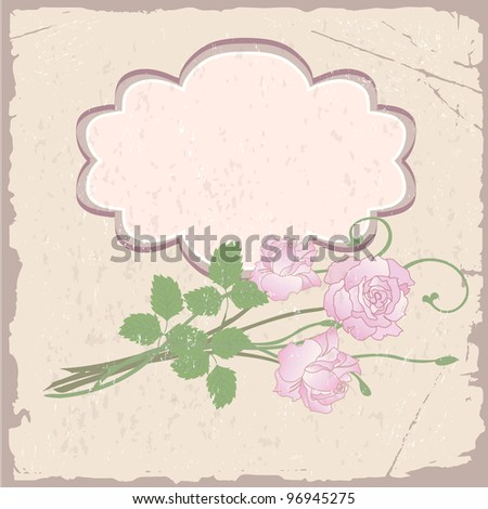 Romantic vector background with roses on old paper - stock vector