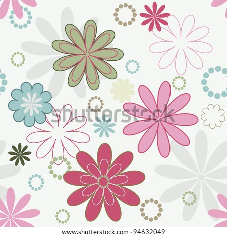 Romantic Vector Background With Simple Flowers - stock vector