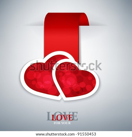 romantic vector background with two red hearts - stock vector