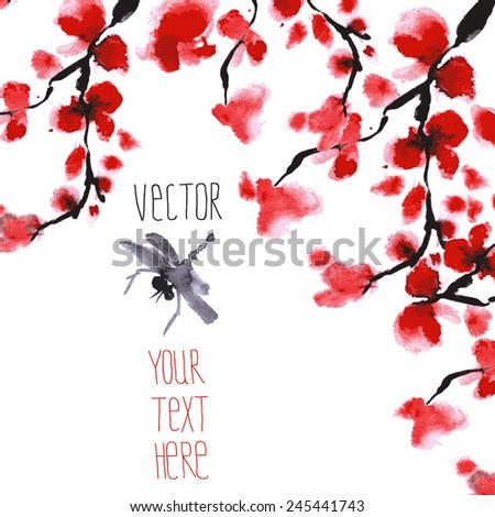 Romantic Vector Branch Cherry Blossoms Japanese Stock Vector