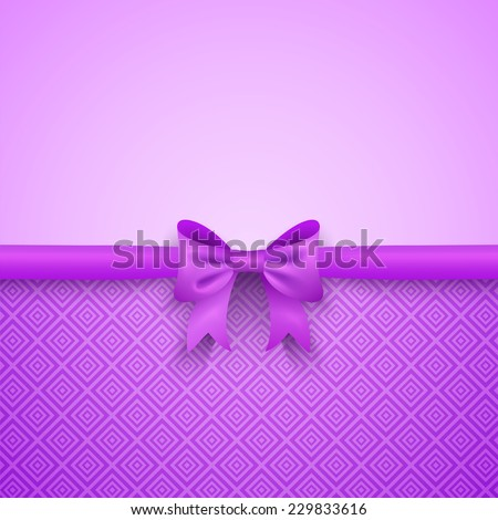 Romantic Vector Purple Background With Cute Bow And Pattern Pretty Design Greeting Card Wallpaper