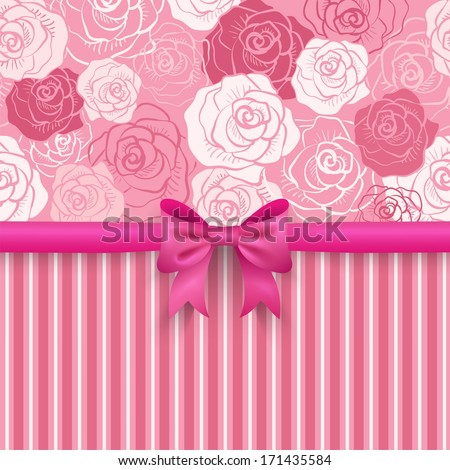Romantic vector seamless background. Pink, red, white shabby colors. Flower rose pattern. Pretty design. Patterns of floral and stripe, cute bow. Greeting card wallpaper for valentine day or woman day - stock vector