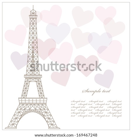 Romantic vintage background with eiffel tower and hearts. - stock vector