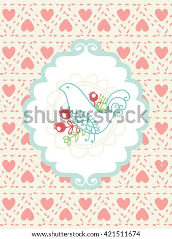 Romantic vintage card. Hand drawn vector floral illustration . Wedding style. - stock vector