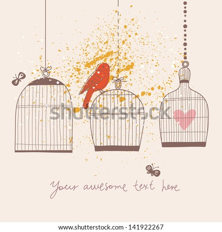 Romantic vintage card with birdcages, bird and butterflies. Spring vector background with place for your text. You can use it in wedding invitation design, valentine card, celebration and decoration.