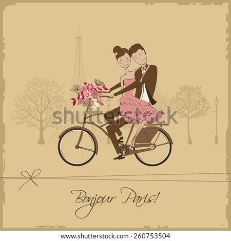 Romantic vintage card with cute lovers riding on a bicycle  - stock vector