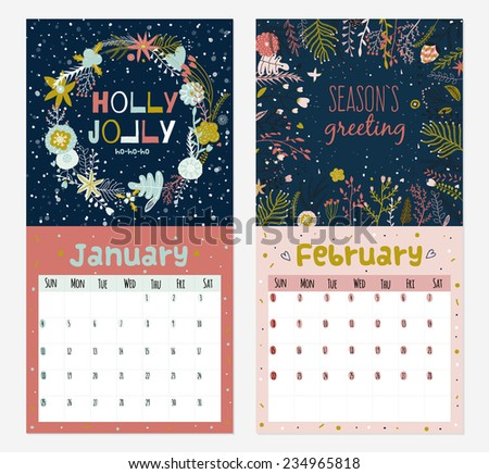 Romantic wall calendar for 2015 with flower, labels, ribbons, hearts, wreaths, laurel. Vector winter illustrations in romantic style with motivational quotes and wishes. Organizer and schedule. - stock vector