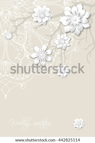 Romantic wedding invitation card with mandala motive and abstract branches with 3d white flowers vector illustration, eps 10