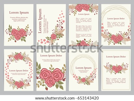 Romantic Wedding Invitation Set Floral Wreath Stock Vector - Wedding invitation set templates