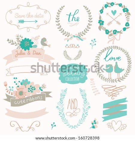 Romantic wedding set with labels, ribbons, hearts, flowers, arrows, wreaths, laurel and birds. Graphic set in retro style. Save the Date invitation in vector. - stock vector