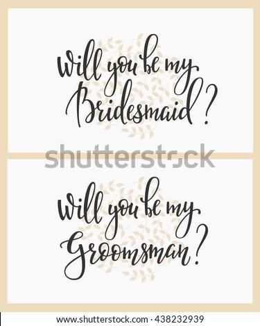 Romantic Wedding Simple Lettering Decor Herbal Stock Vector
