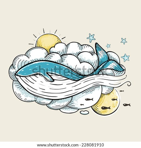 Romantic Whale Swimming in Clouds Retro Design. Hand Drawn textured vintage print. Vector Illustration EPS8. - stock vector
