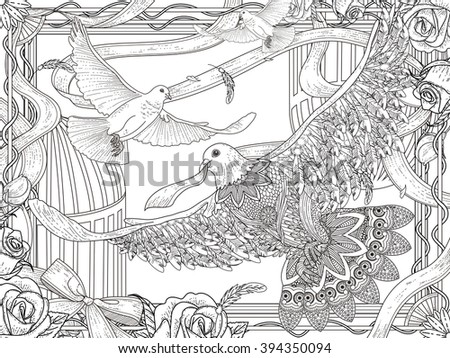 romantic white pigeons coloring page with roses and ribbon - stock vector