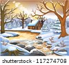 romantic winter scene - stock vector