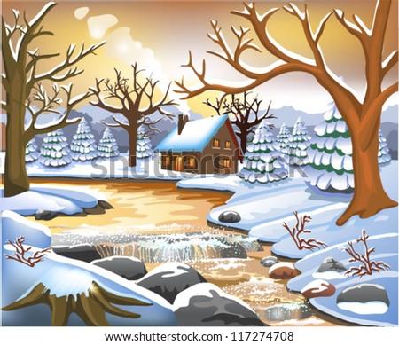 romantic winter scene - stock vector
