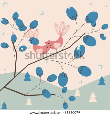 Romantic winter vector background - loving birds on a tree - stock vector
