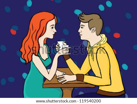 romantic young couple of people (man and girl) in love on a date sitting in a cafe drinking coffee or tea looking at each others eyes closely - stock vector