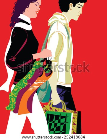 Romantic young couple shopping in the mall with many shopping bags - stock vector