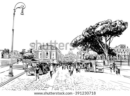 Rome city hand drawn sketch. European city, vector illustration