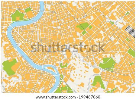Rome city map - stock vector