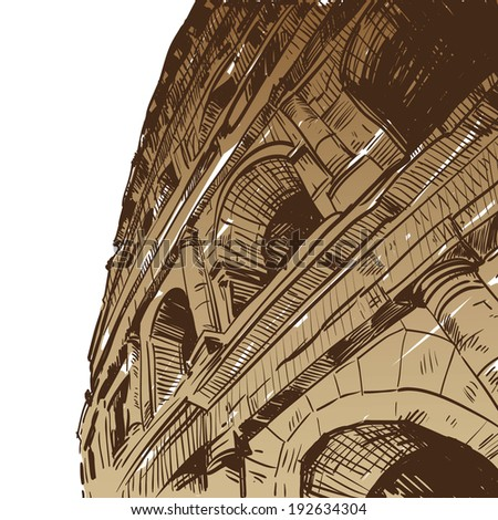 Rome Coliseum hand drawn, vector illustration