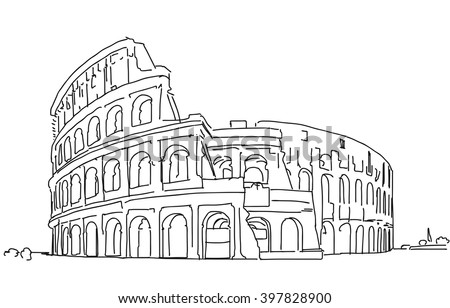 Rome Colosseum Clean Hand Dranw Sketch, Vector Outline Version  - stock vector