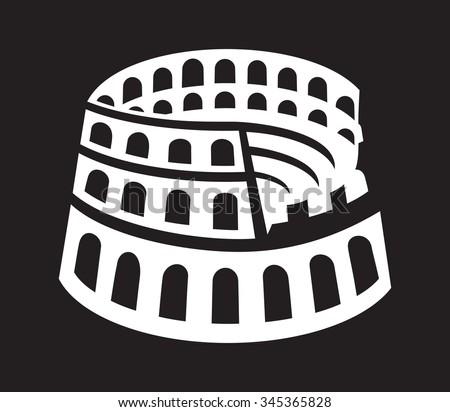 Rome colosseum icon - stock vector