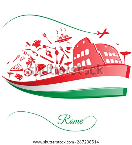 Rome colosseum with food element on italian flag - stock vector