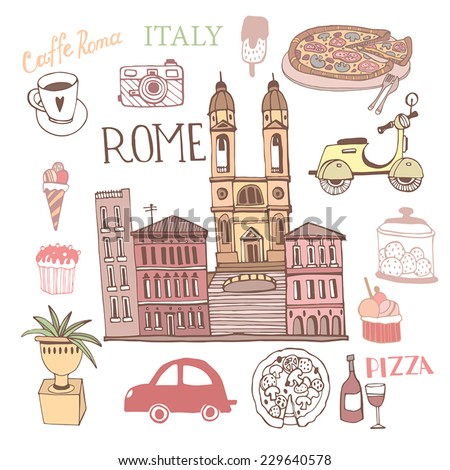 Rome Illustration with Italy decorative elements set. - stock vector