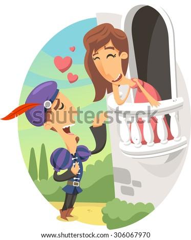 romeo and Juliet balcony scene vector cartoon illustration - stock vector