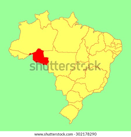 Rondonia,Brazil, vector map isolated on Brazil map. Editable vector map of Brazil.  - stock vector