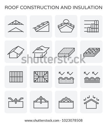 Roof construction and insulation icon set.