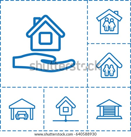 house roof outline clipart. roof icon set of 6 outline icons such as home care family house clipart