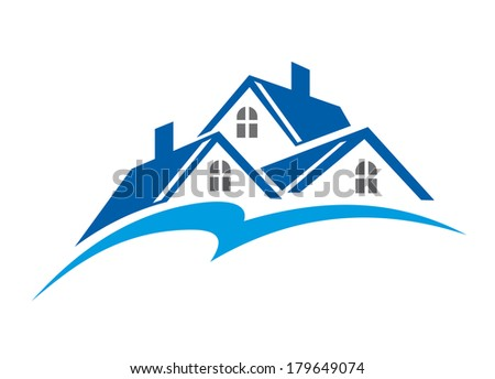 Roof of house as a real estate industry symbol logo isolated on white