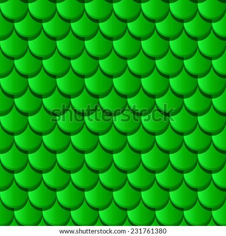 Roof tiles seamless texture in green tones for design - stock vector