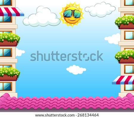 Roof top with apartments view and clear sky - stock vector