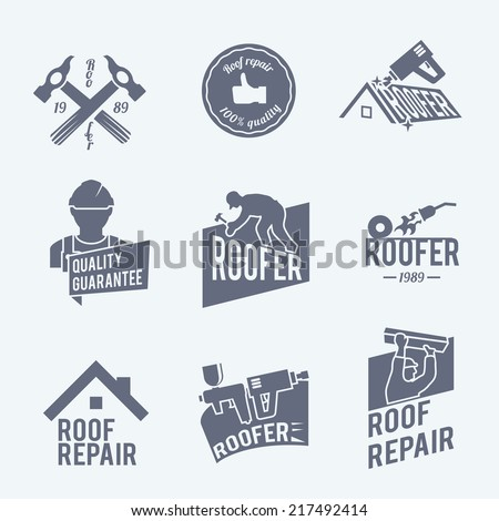 Roofer construction worker tradesman house builder grey icons set isolated vector illustration - stock vector