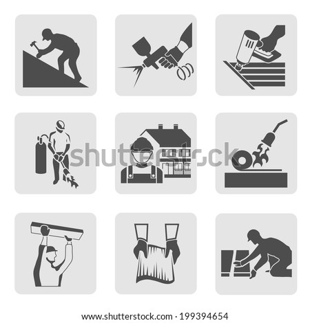 Roofer construction worker tradesman house builder icons set isolated vector illustration - stock vector