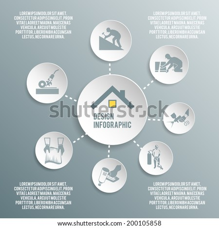 Roofer house improvement profession paper infographic elements vector illustration - stock vector