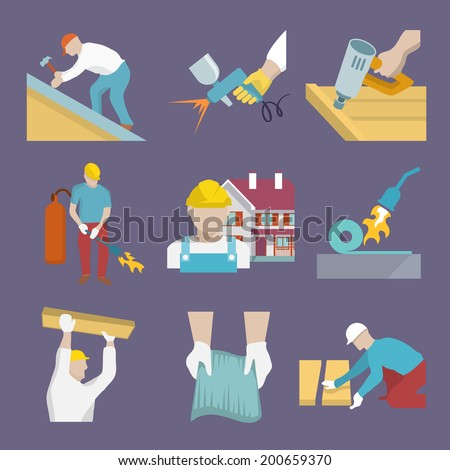 Roofer profession house improvement flat icons set isolated vector illustration - stock vector