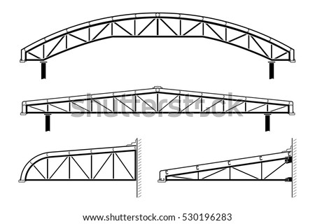 Roofing building, silhouette of framing,roof truss collection, vector illustration