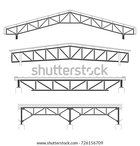 Roofing Buildingsteel Frame Cover Roof Truss Stock Vector 726156709 ...