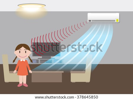 room air conditioner and motion sensing, energy saving, vector illustration - stock vector