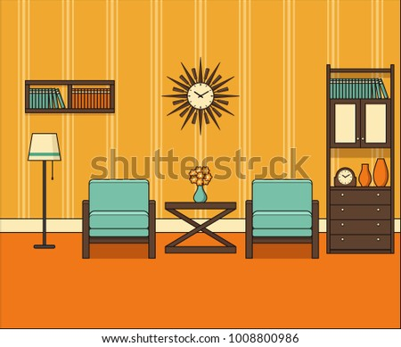 Room In Flat Design. Retro Living Room Interior 60s In Line Art. Vector  Graphics