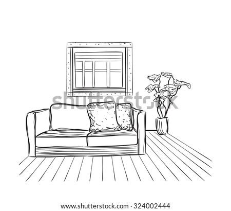House drawing stock images royalty free images vectors Room sketches interior design
