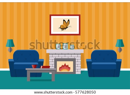 Interior Living Room Fireplace Orange Colors Stock Vector