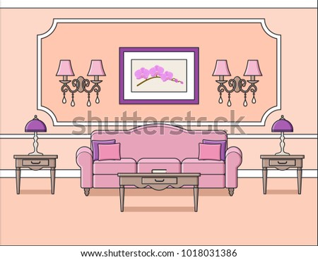 Room Interior Vector Living Room Sofa Stock Photo (Photo, Vector ...