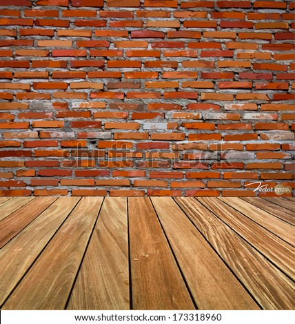 Room interior vintage with red brick wall and wood floor background. Vector illustration. - stock vector